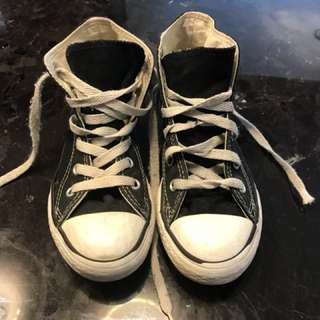 Kids black high top converse size 13 youth