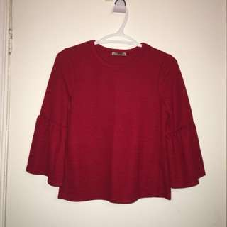 Zara Red Crop Sweater