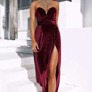 Oh Polly maroon Suede evening gown/dress