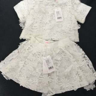 Seed brand new lace top and skirt