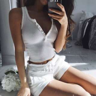 Ribbed White Summer Two Set