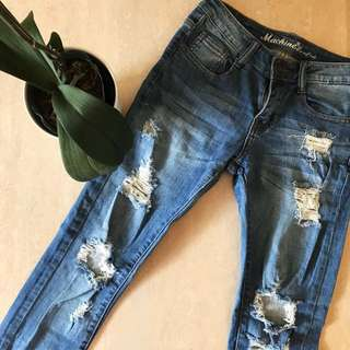 RIPPED BLUE DENIM JEANS LOW RISE
