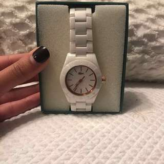 White ceramic lacoste watch, in box with tags and additional links