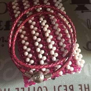 Auth Pandora Leather Honeysuckle Double loop bracelet