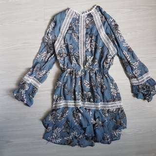 Blue floral long sleeve dress