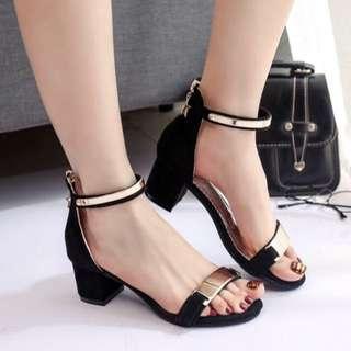black&gold sandals/heels/platform