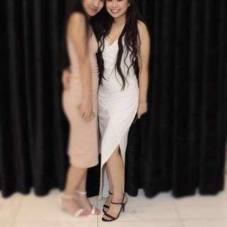 White gold chain strap formal dress