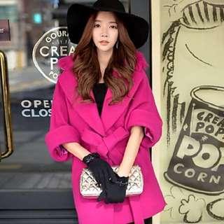 Fuschia wool blend coat with detachable fur collar