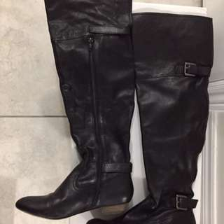 Thigh high black boots size 6