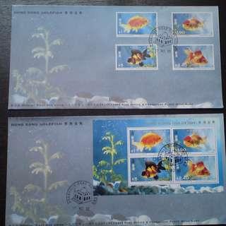 香港 1993年 香港金魚郵票及小全張首日封銷加連威老道集郵組印