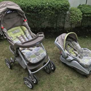 GRACO with Car Seat (Graco Travel System Spree - Sequioa)