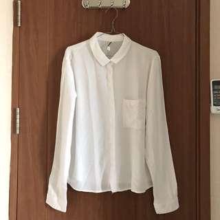 Bershka Shirt Warna Putih