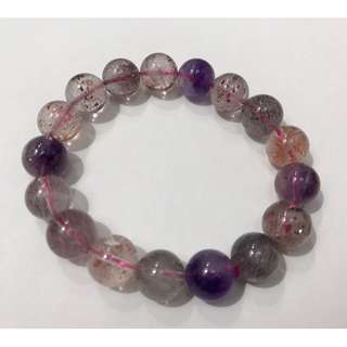 Natural AAA Super Seven Melody Stone Crystal Round Beads Stretch Bracelet  (超七金晶手链,全红款!)