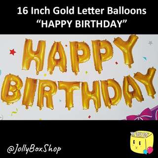 "Set of Gold ""Happy Birthday"" Balloons For Sale. Flat Packaging. 13 Letters"