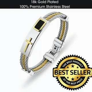 Buy 1 Take 1 Jesus Cross Bangle Stainless Steel 2pcs