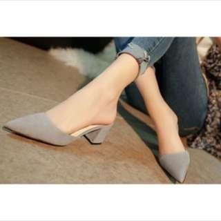 Grey pointed heels slide on