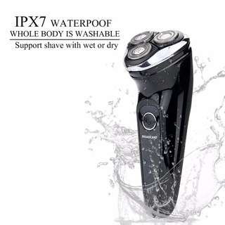 BROADCARE IPX7 Waterproof Electric Shaver USB Rechargeable Men's 360 Rotary Cordless Electric Shaving Razors Wet and Dry for Men - Black