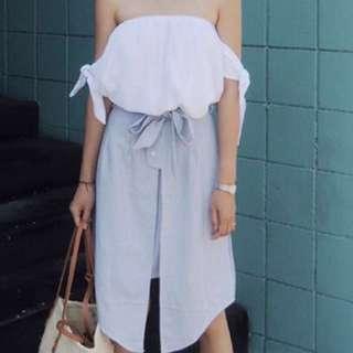 Off shoulder white top + stripes skirt