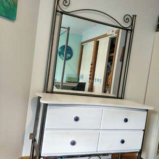 WOOD AND STEEL DRESSER WITH MIRROR