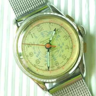 40年代Stopometer古董錶 ,原裝面,無番寫,全鋼織帶 ,原裝上鏈機芯,已抹油,行走精神 ,錶頭33mm,淨錶$1000,請pm