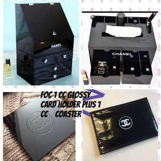 💜 INSTOCK 💜CHANEL BEAUTY VANITY SUPER JUMBO MULTIFUNCTIONAL ORGANISERS. COSMETIC MAKE UP COVER LID WITH 4 DRAWER PLUS TISSUE BOX 5 SLOTS BRUSH HOLDER WITH 2 DRAWER STORAGE BOX ❤️ FREE 1 CC GLOSSY CARD HOLDER PLUS 1 CC COASTER ❤️