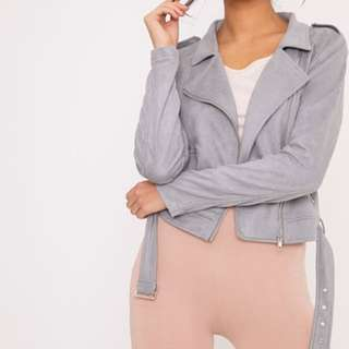 PLT Grey Suede Biker Jacket