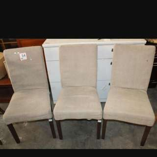3 pieces dining chairs - no table easily removable/ washable fabric seats covers