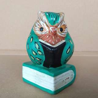 Rare Collectables, Old Antique Display, a Clay or Porcelain Night Owl, Hand Crafted, Hand Painted