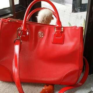 Tory burch orange 2 ways document bag,80% new, 100% real