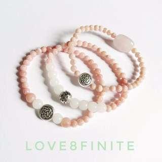 Pink opal, white jade, rose quartz Healing Heart crystal bracelets