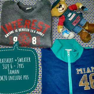 Combo Sweatshirt +Sweater Size 6-7yrs