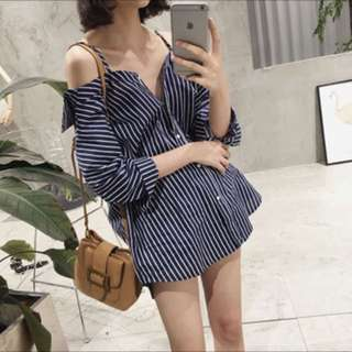 👚ulzzang striped off shoulder strapped blouse👚