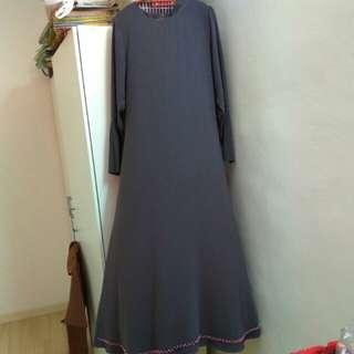 Jubah saqma boutique size L warna grey