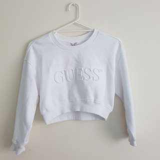White Guess Originals Cropped Jumper