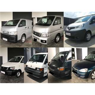 Hiace / Liteace / Dyna / Cabstar / Urvan / NV350 / NV200 / Opel Combo / L300  for Short Term Rental or Long Term Leasing.