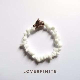 Ghost Direwolf Bracelet (white stones)