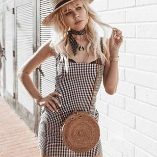 Stevie Bow Back Gingham Dress + Genuine Leather Strap Ata Circle Woven Blogger Bag