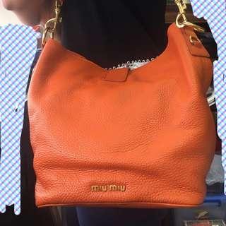Miumiu 橙色真皮手袋