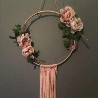 Boho floral dream catcher handmade
