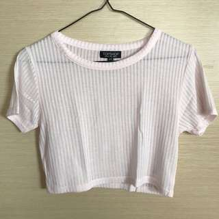 Topshop Pink Ribbed Crop Top
