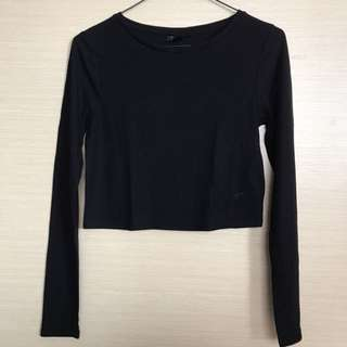 Topshop Black Ribbed Longsleeve Crop Top