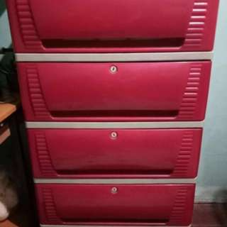 Plastic drawer and cabinet
