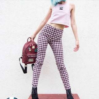 Purple and white checkered pants