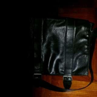 aldo black leather messenger bag...