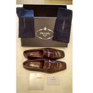 Prada Calzature Uomo Coffee Brown Dress Shoes