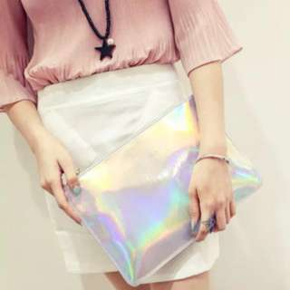 Reflective Clutch in Silver