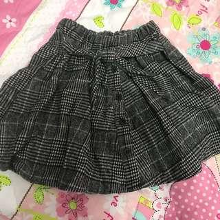 黑白格紋 假綁帶短裙 鬆緊 XS-L都能穿 傘狀裙很顯瘦喔