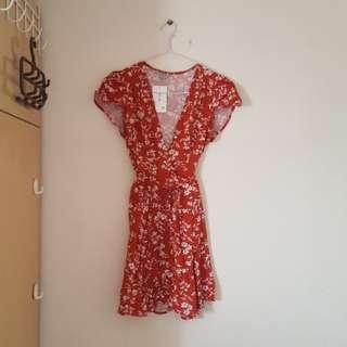 Floral dark red wrap dress
