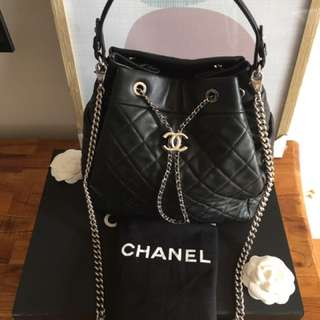 Chanel quilted lambskin large drawstring bag