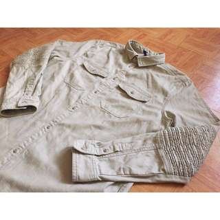 (全新)H&M oversize 卡其軍裝襯衫外套